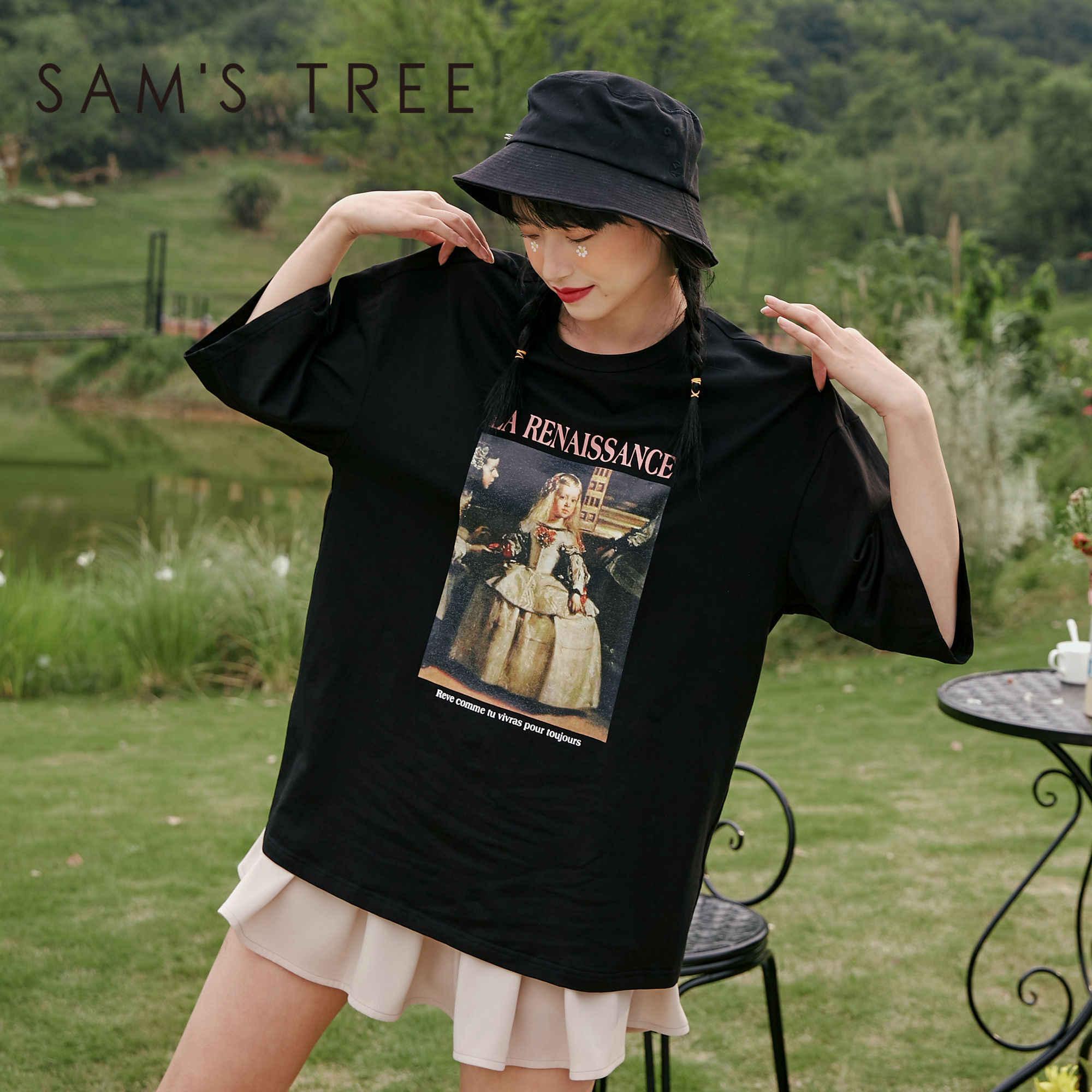 Sam's TREE 화이트 유화 인쇄 캐주얼 여성 t-셔츠 2020 여름 새로운 빈티지 블랙 짧은 소매 한국 숙녀 일일 탑스