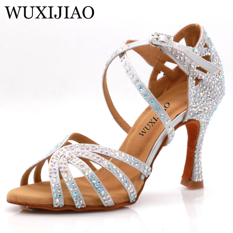 WUXIJIAO Jazz Shoes Latin Dance Shoes Female Latin Salsa Girl Casual Shoes Silver Bronze Skin Shoes