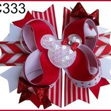E 15 шт. рождественские банты для волос карамельный тростник бант Санта заколка для волос олень праздник веселая Рождественская бабочка
