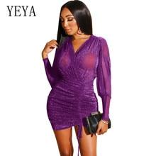 YEYA Bright Sexy V-neck Long Sleeve Bandage Dress New Arrivals Bodycon Short Elegant Party See Through Vestidos Dresses