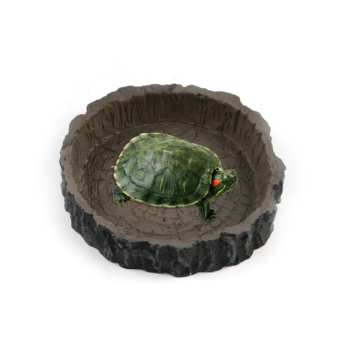 Round Shape Resin Reptile Bowl Water Food Dish Feeder Tortoise Turtle Feeding Tools Supplies For Amphibians Fish Tank Decoration