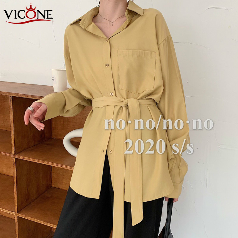 VICONE 2020New Style Mid-length Irregular Shirt Women's Sense of Design Non-mainstream Long Sleeve Loose-Fit Tops