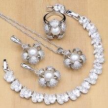 פרחים 925 כסף כלה תכשיטי סטים לבן CZ עם פניני חרוזים לנשים חתונת עגילים/תליון/טבעת/צמיד/שרשרת סטים