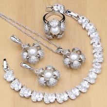 Ensembles de bijoux de mariée en argent 925, avec perles, pour femmes, ensembles boucles doreilles, pendentifs, bagues, Bracelet, colliers, perles blanches, pour femmes