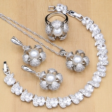 Flowers 925 Silver Bridal Jewelry Sets White CZ With Pearls Beads For Women Wedding Earrings/Pendant/Ring/Bracelet/Necklace Sets