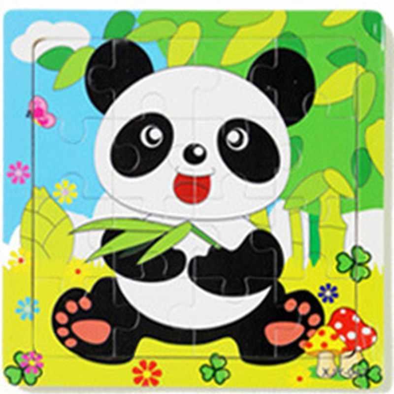 Drewniane Puzzle zabawki edukacyjne dla dzieci zabawki dla dzieci 3D Cartoon zwierząt pies Panda owce bydło tygrys żaba pociąg Puzzle zabawki prezenty
