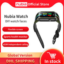 100% original versão global nubia relógio 4.01 amamamoled dobrável flexível snapdragon 8909w 1gb 8gb telefone celular nubia relógio de telefone