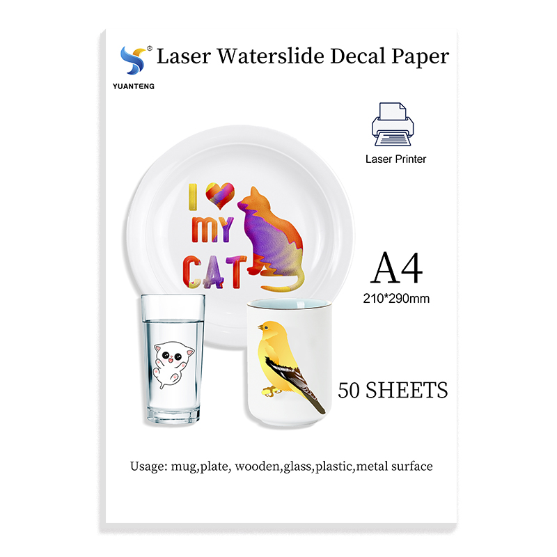 (A4*50 Sheets) Transparent Waterslide Decal Paper for Inkjet Printer A4 Water Slide Transfer Printable Paper for DIY Cups Mugs