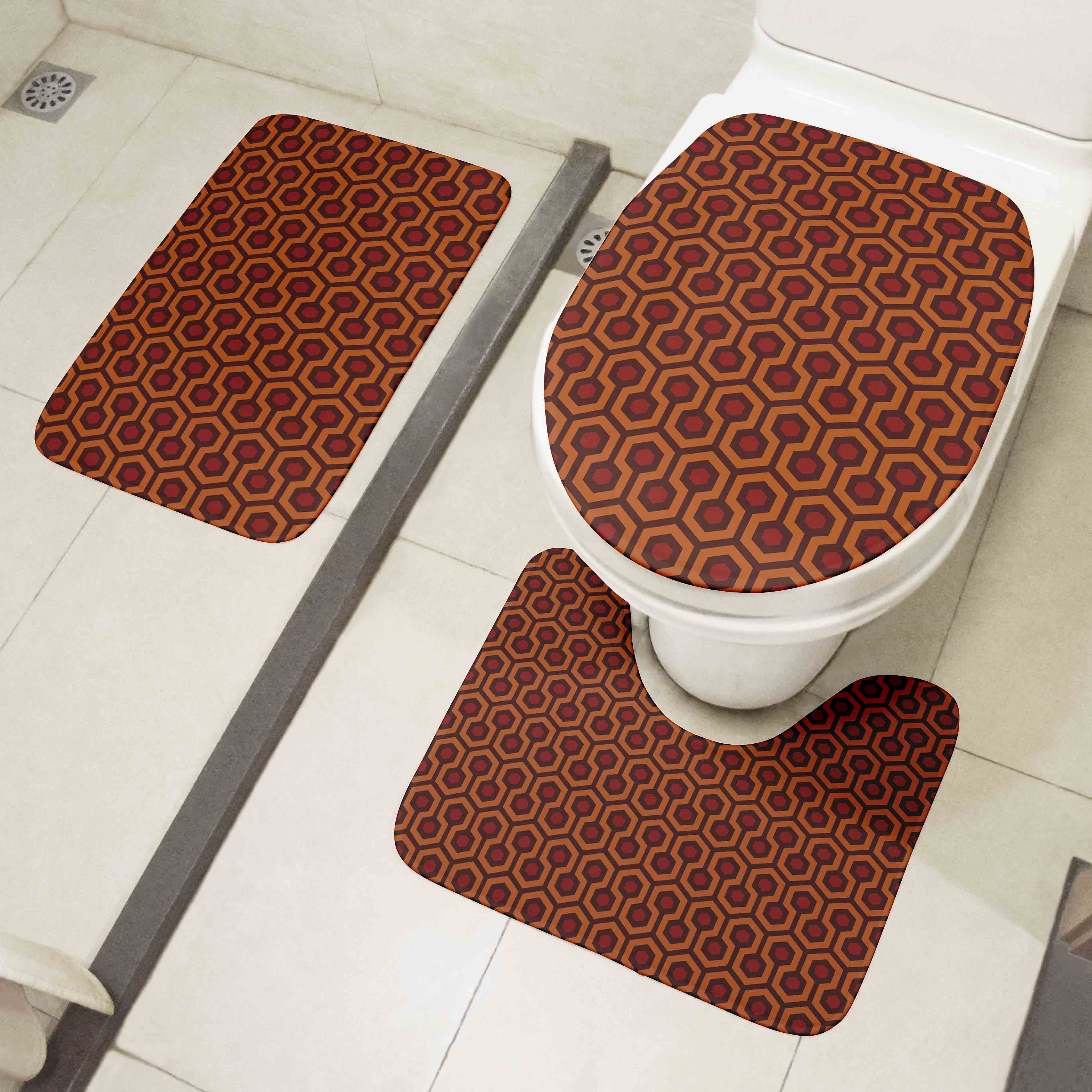 New 3D Printed Toilet Floor Mats 3 PCS Set Fun Alien Skull Toilet Cover Set Bathroom Decor Non-Slip Absorbent Rug Flannel Carpet