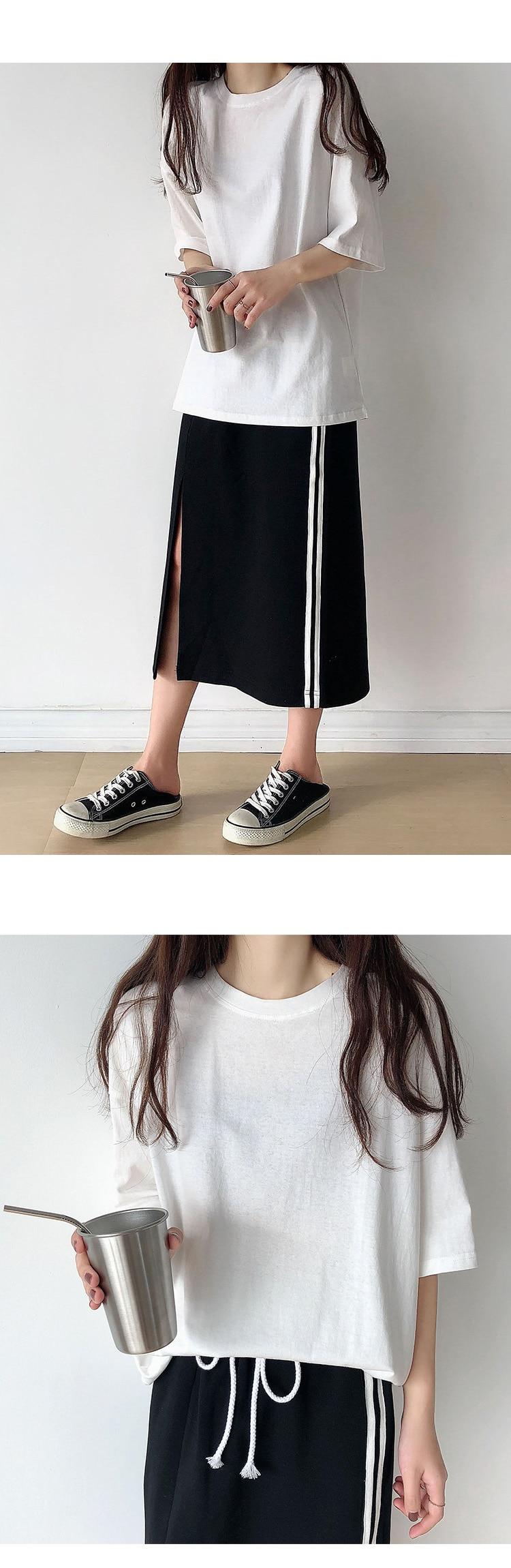 H7fed75b8c24a4e70b5a906113b278373s - Summer O-Neck Short Sleeves Minimalist Loose Basic T-Shirt