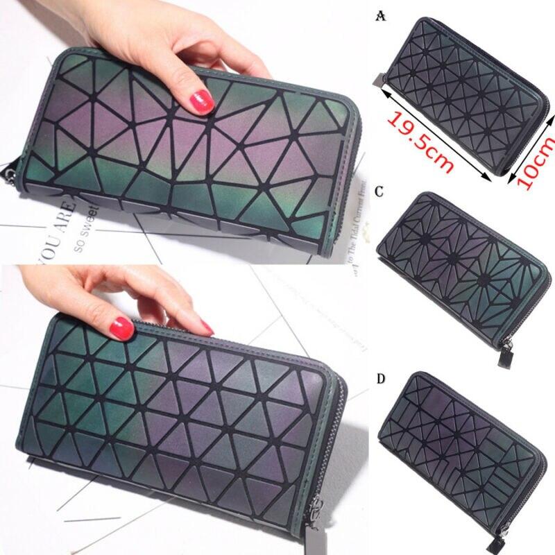 2019 Geometric Money Clip Female Trifold Wallet Slim Thin Women Phone Pocket Purses Long Clutch Wallets Money Bag
