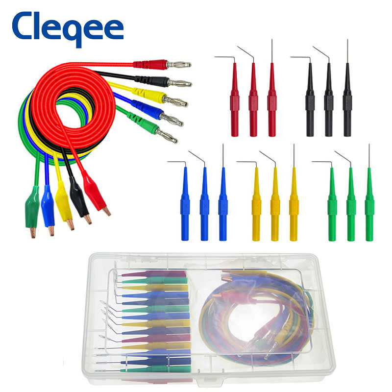 Cleqee P1920 20 pz/set Posteriore Sonda Kit Coccodrillo a 4mm Spina A Banana di Test per Multimetri Piombo 30V /10A per strumento Automotive