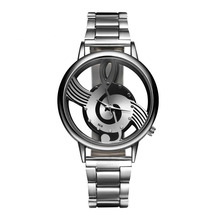 Fashion Creative Design Musical Note Watches Women Stainless Steel Quartz Wristwatch Ladies Relogio Feminino