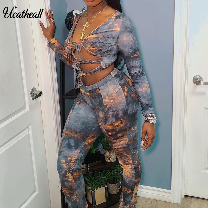Lace Up Hollow Out Two Piece Set Print Night Club Long Sleeve T Shirt & Pants Party 2 Pieces Set Party Fashion Summer 2020