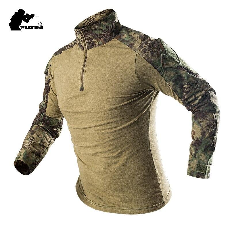 Militar dos homens camuflagem tático t camisa de manga longa marca algodão respirável combate sapo tshirt camisas treinamento masculino af655