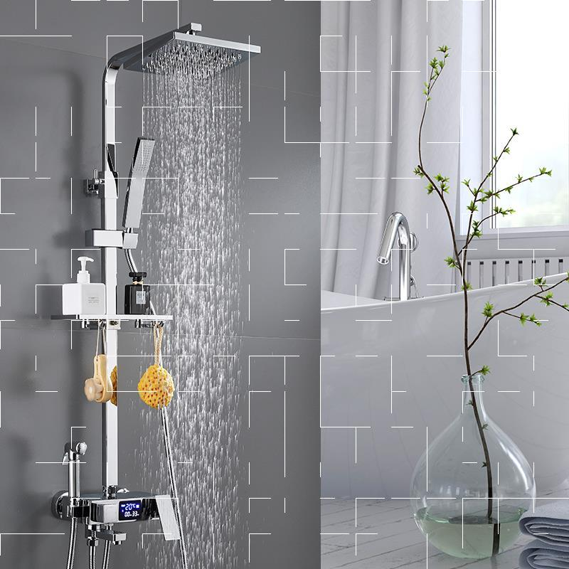 H7fedcee7041d489da45f5daba9e0c7f9J Thermostatic Digital Display Shower Faucet Set Shower Mxer Crane Rain Shower Bath Faucet Bathtub Shower Mixer Taps Bidet Faucet