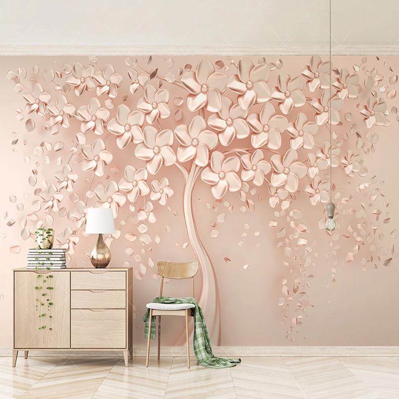 Custom Mural Wallpaper 3D Stereo Creative Blossom Tree Wall Painting Living Room TV Sofa Bedroom Background Wall Papel De Parede