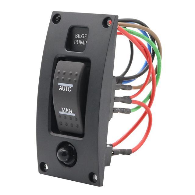 $ 13.36 GloryStar 12-24V Bilge Pump Switch Alarm Waterproof Ship Deck Cleaning Control Panel for Boat Bilge Pumps on/off/on