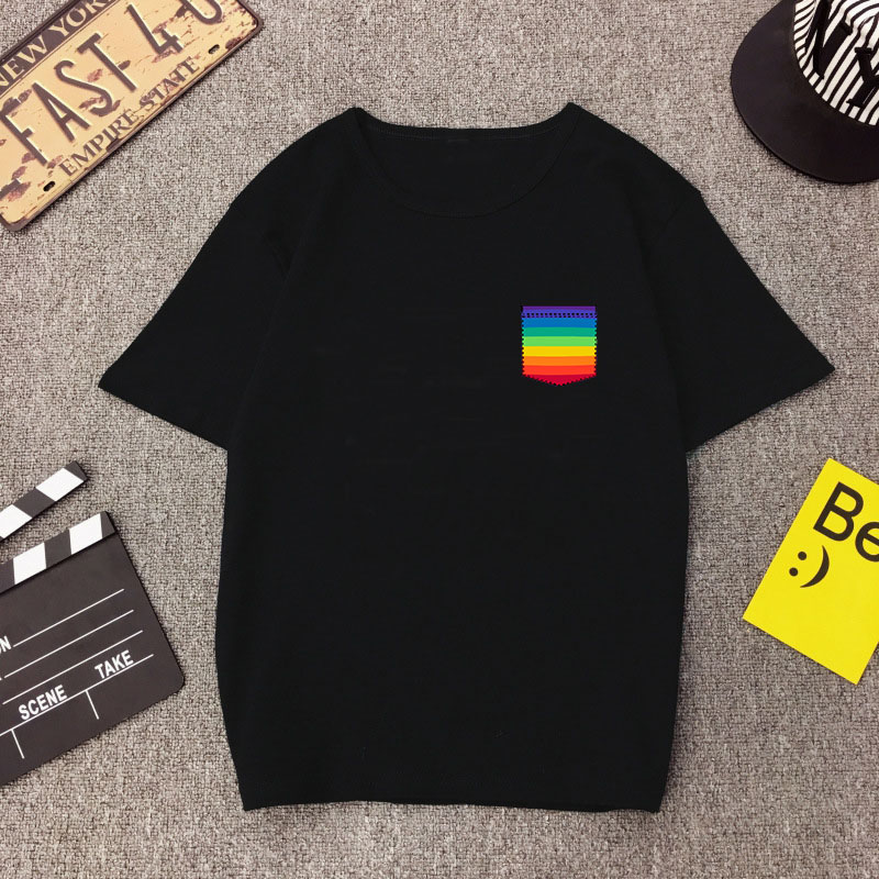 2019 Cool Streetwear Camiseta Mujer Aesthetic Women Black Short Sleeve Tees Girl Colorful Pocket Rainbow T Shit Harajuku Vintage