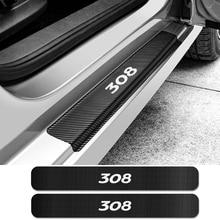 4 шт. Автомобильная Накладка на порог угольный молниеотвод наклейки для peugeot 308 Авто порог протектор наклейки автомобильные принадлежности для тюнинга