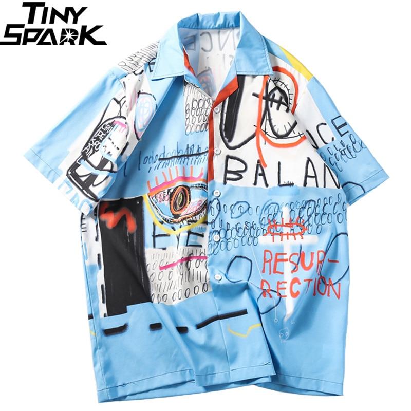 2019 Hip Hop Shirt Streetwear Men Hawaiian Shirt Graffiti Print Harajuku Beach Shirt HipHop Shirts Summer Thin Tops Short Sleeve