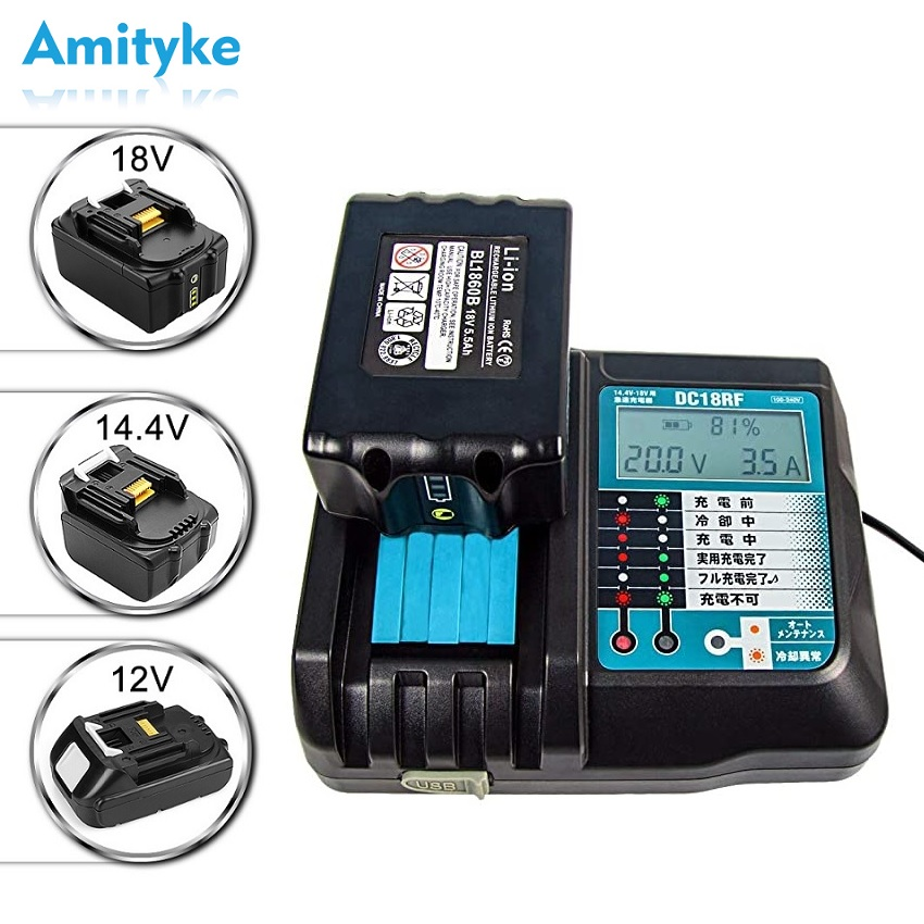 14.4V-18V 3.5A Fast <font><b>Battery</b></font> Charger Lithium-ion For Makita BL1415, <font><b>1420</b></font>,1830,1840,1850,1860 Power Tool with Screen And USB Port image