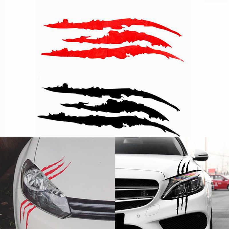 40 Cm * 12 Cm Mobil Reflektif Monster Sticker Hitam/Putih/Merah Awal Garis Tanda Cakar Mobil Auto headlight Vinyl Decal Stiker Mobil