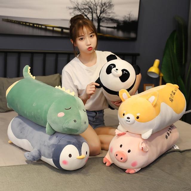 70/100CM dessin animé créatif dinosaure Corgi jouets en peluche animaux en peluche cochon pingouin oreiller Panda poupées enfants garçon filles cadeaux