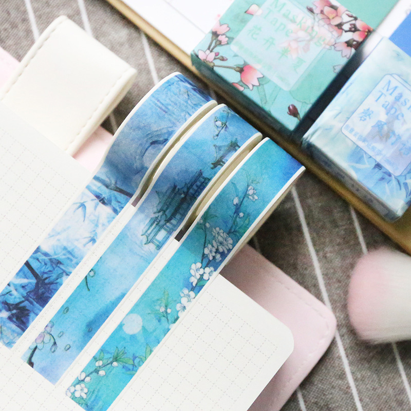 2 Pcs 1.5cm * 7m Cute Kawaii Landscape Masking Washi Tape DIY Decorative Adhesive Tape For Scrapbooking Decoration