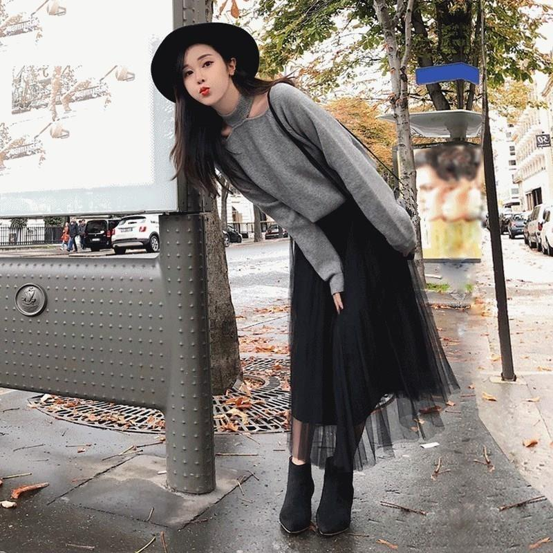 Women Solid Sweater Mesh Skirt Two Piece Set Winter Long Sleeve Knitted Sweater Suit Halter Vintage Outfits