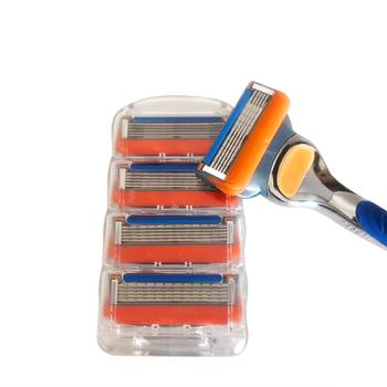 4 sztuk paczka golenie 5 warstw żyletki kompatybilny dla Gillettee Fusione dla mężczyzn pielęgnacja twarzy lub Mache 3 tanie i dobre opinie 4pcs pack gf5h 5layers razor blade Stainless steel yellow blue Shaving Hair Removal Men Shaving Blades