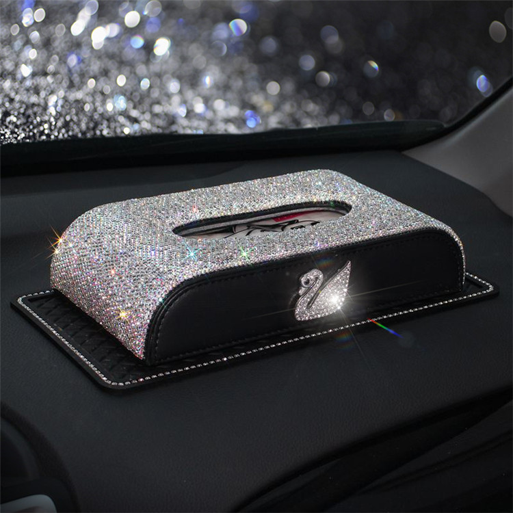 New Style Car Diamond Set Swan Tissue Box On Board Tissue Box Car Paper Extraction Box Seat Type Creative Full Of Crystals Tissu