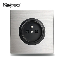 Wallpad Grey L6 Único 16A Francês Soquete De Parede Elétrico Placa de Alumínio de Prata 1 Gang Tomada Painel De Metal Escovado