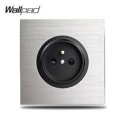 Wallpad cinza l6 único 16a francês parede tomada elétrica placa de alumínio prata 1 gang tomada de energia escovado painel metal