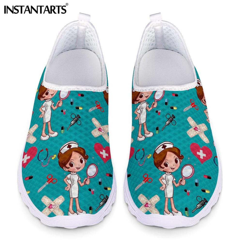 INSTANTARTS New Cartoon Nurse Doctor Print Women Sneakers Slip On Light Mesh Shoes Summer Breath Flat Shoes Zapatos planos Mujer