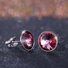 Женские круглые серьги lekani 2 цвета с кристаллами Сваровски