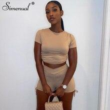 Simenual – ensemble deux pièces pour femmes, vêtement sportif assorti, froncé, cordon de serrage, dos nu, mode été 2021