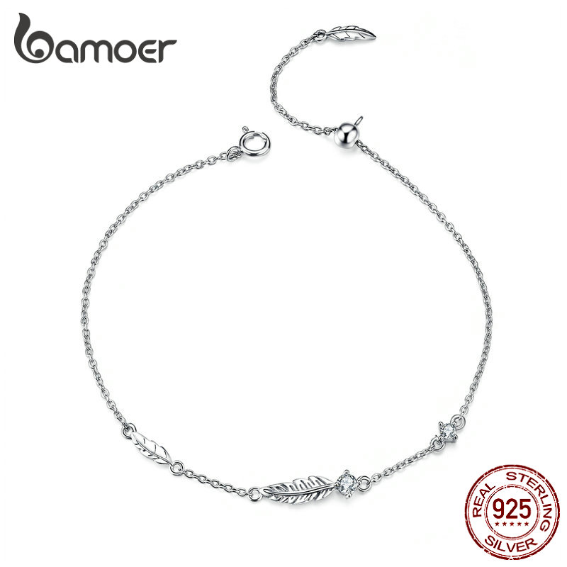 BAMOER Boho Feather Chain Bracelet Sterling Silver 925 Link Bohemia Style Zironia Jewelry Summer Girl Gifts SCB133
