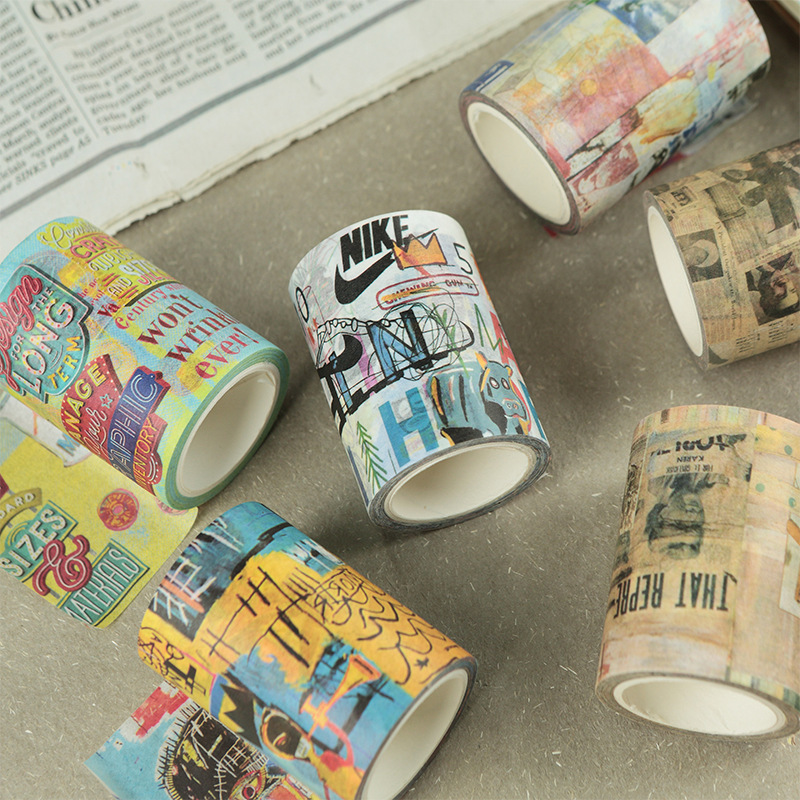 60mmx7m Doodle Kingdom Series Vintage Washi Tape Wide Retro Japanese Paper Handmade Diary DIY Masking Tapes School Office Supply