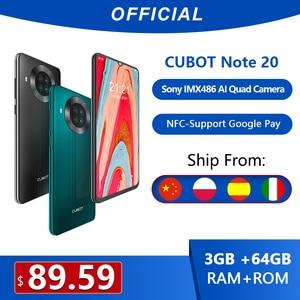 Cubot Note 10 смартфон 6,51 дюймов 4000 мАч Тройная задняя камера Google Android 10 двойная sim-карта телефон 4G LTE 3 ГБ + 64 ГБ