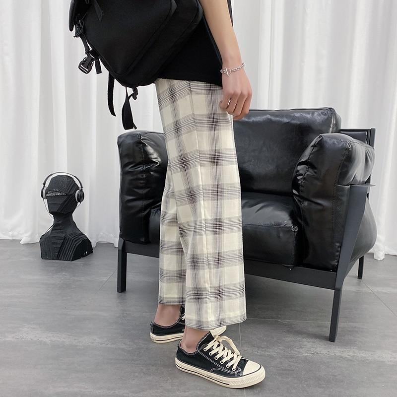 Plaid Pants Men's Fashion Retro Drawstring Casual Pants Men Streetwear Wild Loose Hip Hop Straight Trousers Mens M-2XL