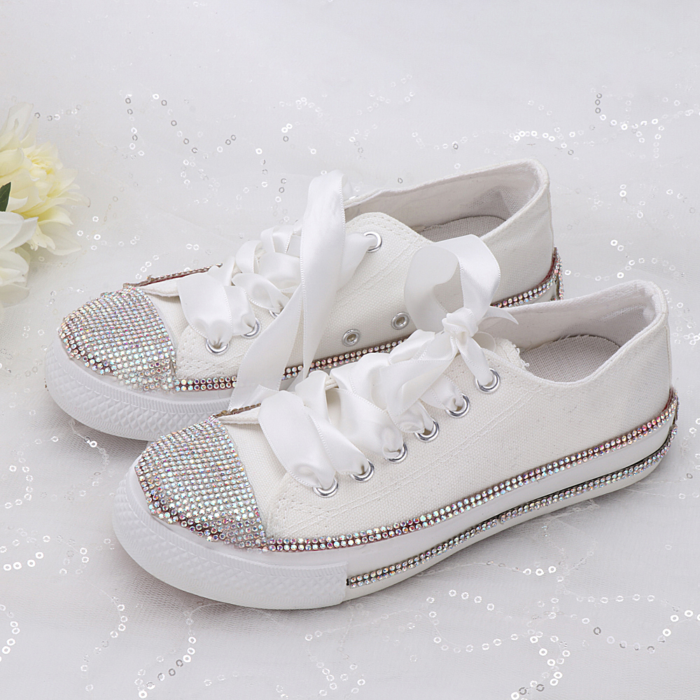 Women Sneakers Casual Shoes New  Fashion Breathable Platform White Soft Footwears Rhinestone Crystal Flats Ribbon Strap