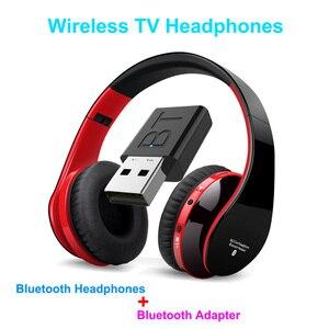 Bluetooth TV Headset, HiFi bluetooth Headphone Deep Bass Wireless TV Headphone with Transmitter Stick For TV Computer Phone(China)