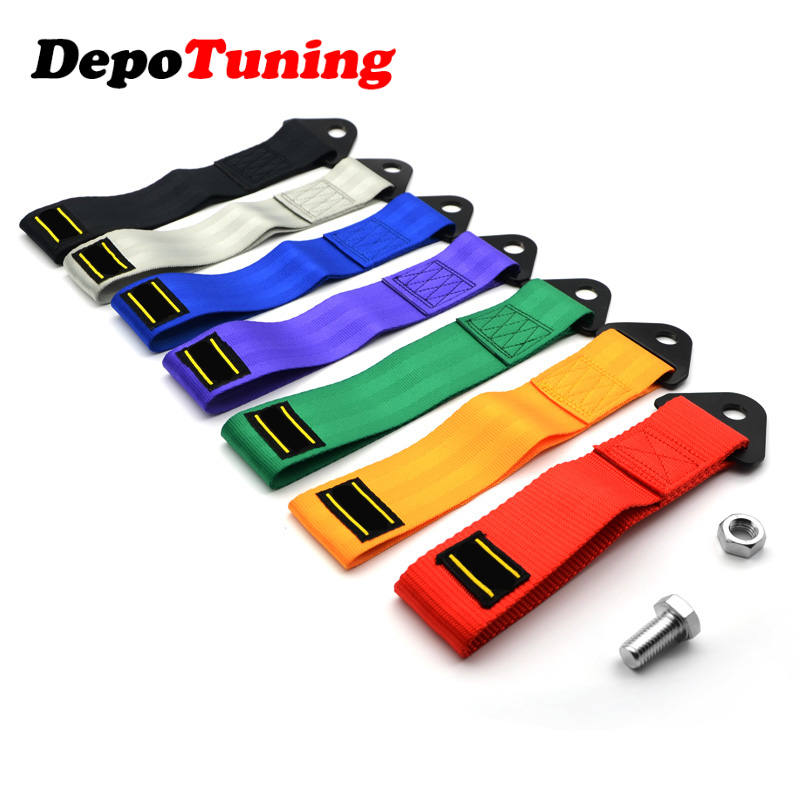 DepoTuning 7 Colors Universal Tow Strap High Quality Race Car Tow Strap / Ropes / Hook / Towing Bars With Logo
