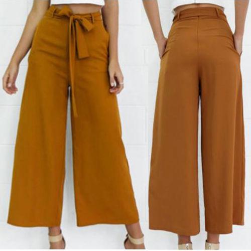 Offre spéciale mode taille haute cravate taille pantalon chaud Streetwear femmes jambe large en mousseline de soie pantalon OL pantalon longues Culottes pantalon