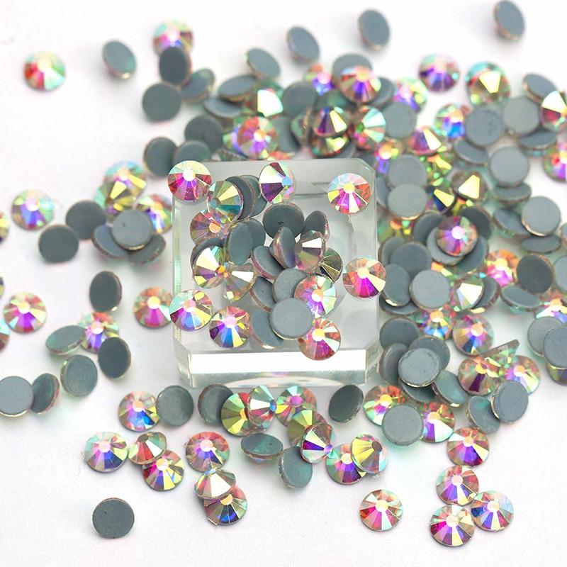 All Sizes AB Hot Fix Rhinestone Glass Crystal Flatback Austrian Hotfix Rhinestones For Wedding Dress