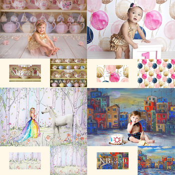 Children Birthday Party Photo Background Newborn Portrait Photography Backdrop for Photo Studio Baby Shower Photoshoot Props kate retro blue wall photo background photography backdrop children washable backgrounds for photo studio