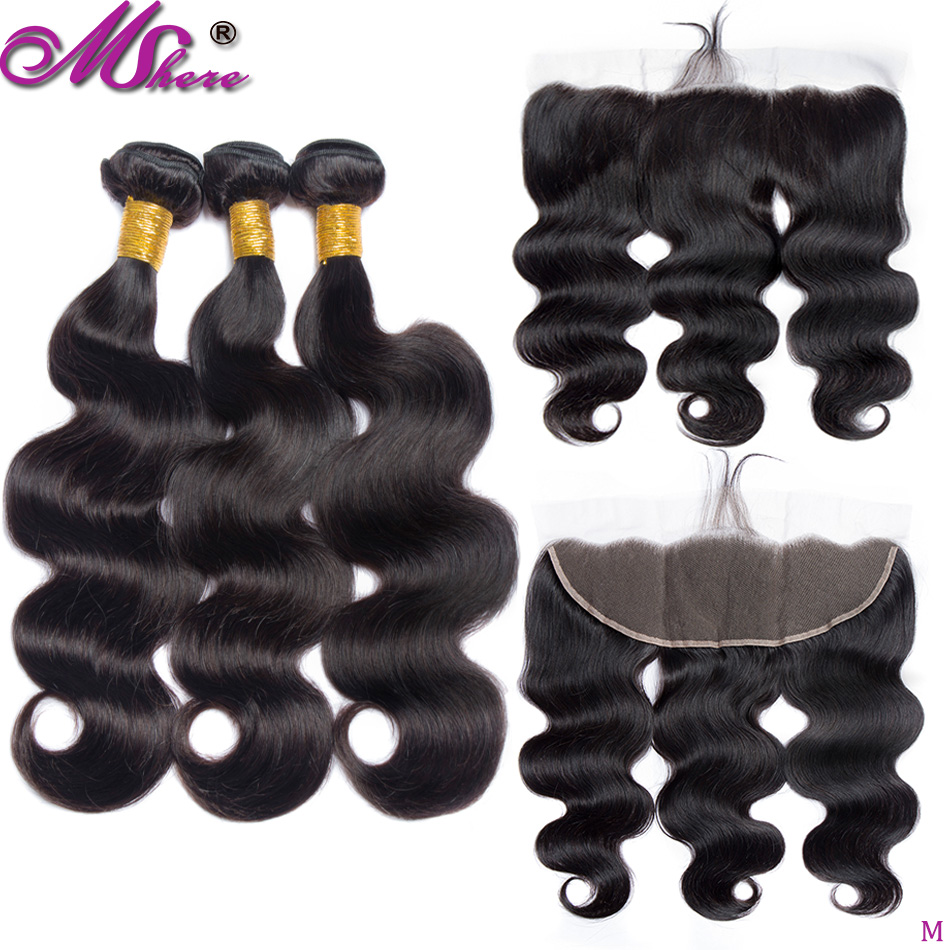 Lace Frontal Closure With Strands Brazilian Body Wave Hair Package 4 Pieces Non-Remy Mshere Human Hair 3 Strands With Frontal
