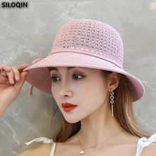 SILOQIN Panama Ladies Cap Trend Summer Fashion Bow Bucket Hats For Women Brands Beach Hats Wind Rope Fixed Sombreros Sunhat New(China)