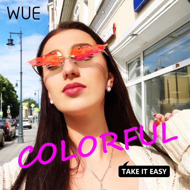 2019 Fire Flame Fashion Sunglasses Women Rimless Wave Sun Glasses Eyewear Luxury Trending Narrow Sunglasses Streetwear